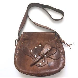 Handmade Vintage Leather Horseshoe Crossbody Bag